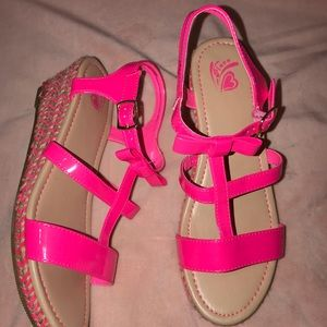Girls pink wedges from children's place. Size 6.